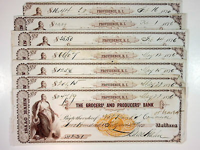 Providence RI. Grocers' & Producers' Bank. 7 Checks Dated 1876. Isaac Hahn. NBNC