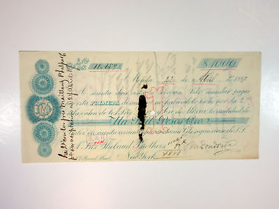 Merida, Mexico. 1st of Exchange Check for $1000. I/C 1887. Revenue Affixed. VF