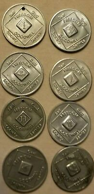 Lot of 8 Narcotics Anonymous Tokens