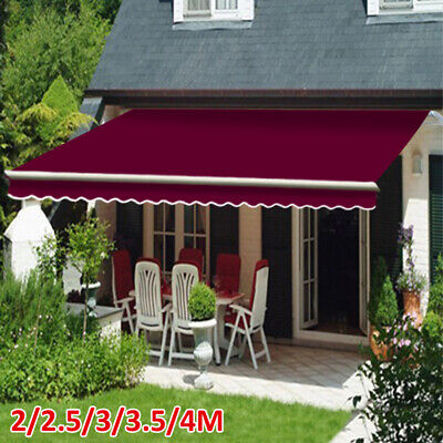 Manual Awning Canopy Outdoor Patio Garden Sun Shade Retractable Shelter Wine Red