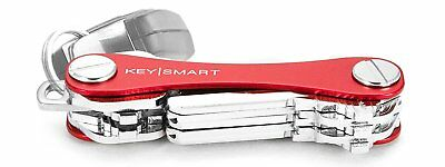 KeySmart Aluminum Compact Key Holder Organiser Pocket Size Holds 2 - 10 Keys Red