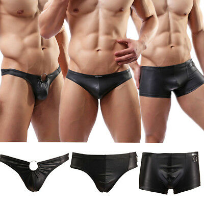 Sexy Men Shorts Briefs Trunks G-String Shiny Underwear Thong Boxer PU Leather UK