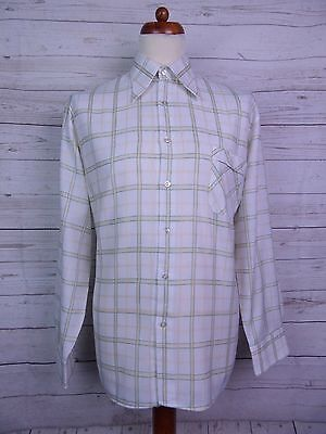 Vintage 1970s L-Sleeve Window Pane Checked Polycotton Shirt Mod -XL- DS26