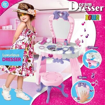 Girls Makeup Dressing Table Desk Stool Playset Pretend Toy Kit - Pink and White