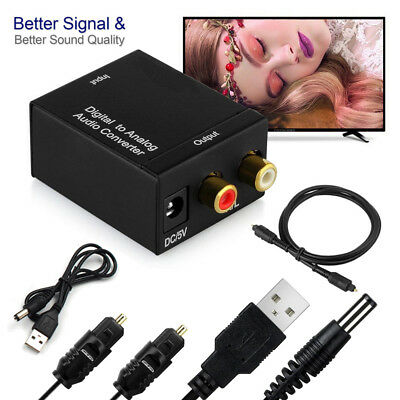 Optical Coax Digital Toslink to Analog Audio RCA L/R Adapter Stereo Converter