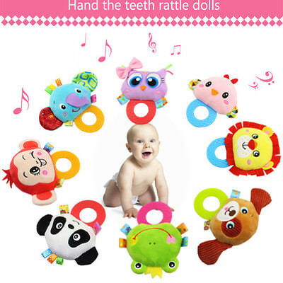 Baby Rattles Hand Bell Toddler Infant Rings Interactive Cute Animal Plush Toys
