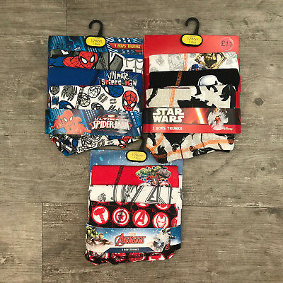 3 x Pairs Boys Spiderman Star Wars Boxers Shorts Trunks Age 3 - 16 Years