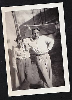 Old Vintage Antique Photograph Man & Young Boy Leaning On One Another