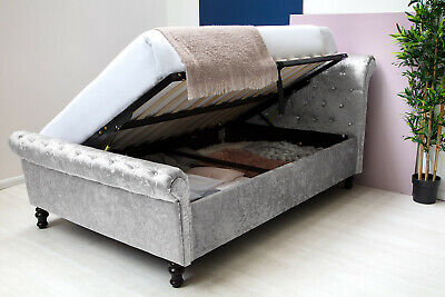 Silver Crushed Velvet Ottoman Under Storage Sleigh Bed Frame Double / King Size