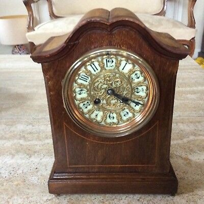 French Inlaid Edwardian Striking Mantle  Clock From Fritz Marti In Working Order