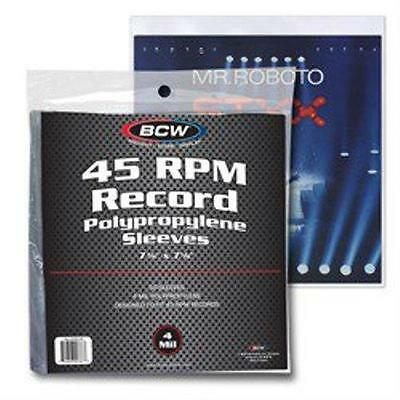1 Pack of 50 BCW Brand 45 rpm record sleeves holders - 4 mil thick