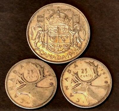 1949 Silver 50 Cent Coin  Plus 2 1938 25 cent coins Of Canada