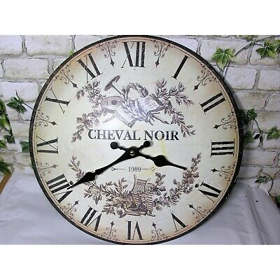 Nostalgia Shabby Chic Wall Clock Horse Noir Metal 33cm Railway Station Antique