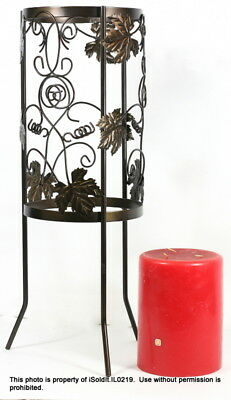 """Partylite 25"""" Grapevine Wrought Iron Floor Stand + 3-Wick Candle"""