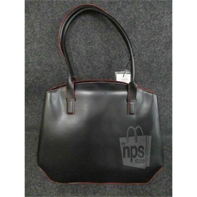 """LODIS Audrey Patty $292 Work Brief Leather Purse Bag Black Fits up to 15"""" Laptop"""
