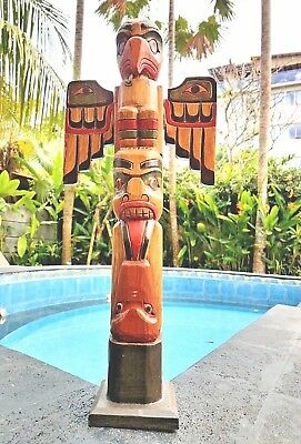 "Large Handcarved Wood 24"" Tall X 4 Inch Totem Pole With Detachable Wings"