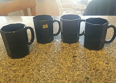 Arcoroc Black Octagon Octime 4 Amethyst  Glass Glass Coffee Mugs Cups France