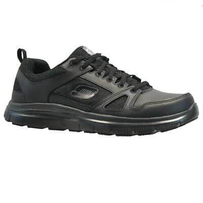 Mens Skechers Leather Relaxed Memory Foam Non Safety Work Ankle Trainers Shoes
