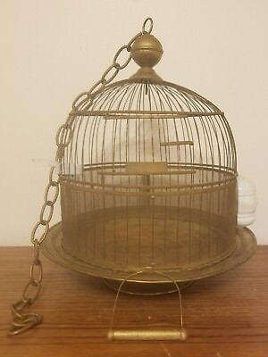 Antique VTG Art Deco Hendryx Brass Wire Bird Parakeet Cage with Chain Feeders NR