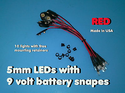 10 pcs 5mm RED WIRED LEDs 9 VOLT WATER CLEAR LED ON BATTERY SNAPS 9V CLIP