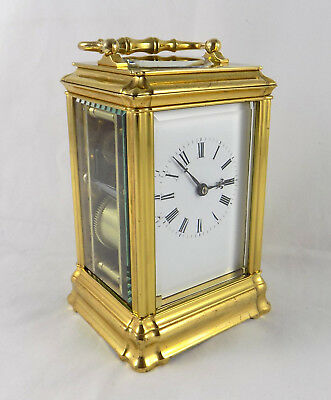 Bell Striking Carriage Clock In Gilded Gorge Case - Fully Cleaned & Serviced