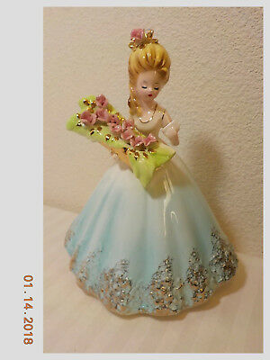 "Vintage Josef Originals 8"" Figurine Young Girl Holding Box Of Long Stem Roses"