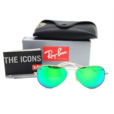 New Ray-Ban RB3025 112/19 Gold Aviator Sunglasses w/ Mirrored Green Lenses 55mm