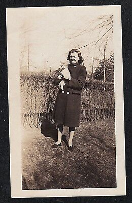 Old Vintage Antique Photograph Woman Standing in Yard Holding Cat / Kitten