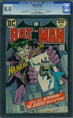 Batman 251 CGC 8.0 - OW/W Pages - Classic Joker Cover