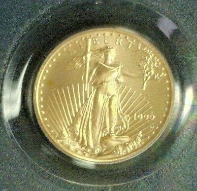 1999-W Gold $5 1/10Th Eagle Mint Error Unfinished Proof Dies Pcgs Ms69  (4980)