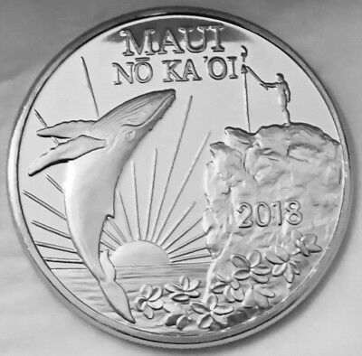 Hawaii Maui Trade Dollar Humpback Whale & Cliff Diver 2018 CopperNickel Coin Unc