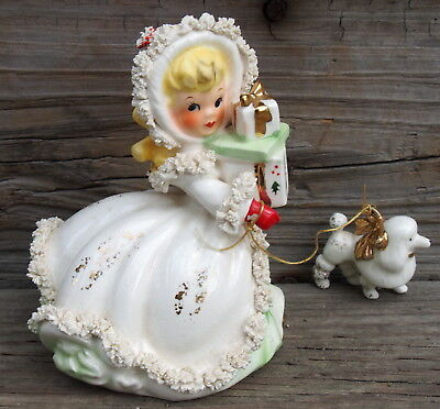 VINTAGE NAPCO CHRISTMAS GIRL Lady FIGURINE WITH POODLE Presents AX2749C Beauty