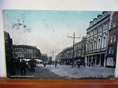 HIGH STREET, STOCK ON TEES - VINTAGE PRINTED POSTCARD c1904 by Armstrong! Tram!