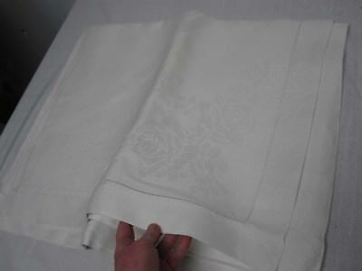 "VINTAGE WHITE IRISH LINEN DOUBLE DAMASK TABLECLOTH w ROSES & LEAF SWAG 68"" x 88"""