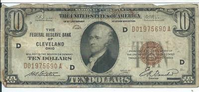 National Currency $10 1929 Federal reserve bank note Cleveland district
