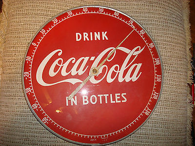 "Coca Cola Coke Original 1950's Drink In Bottles 12"" Round Glass Thermometer Usa"