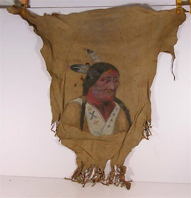 ca1910 NATIVE AMERICAN SIOUX INDIAN CHIEF SITTING BULL PAINTING ON HIDE LEATHER