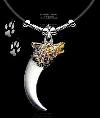 """Wolves Bear Claw Wolf Necklace 24"""" Leather Jewelry Grizzly Bears Gift  Free Ship"""