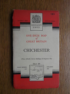 """VINTAGE ORDNANCE SURVEY 1"""" MAP of  CHICHESTER - 1960 - 7th Series No. 181 CLOTH"""