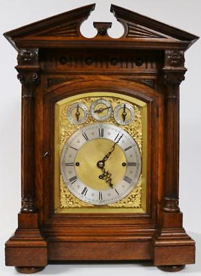 Antique English Carved Oak Triple Fusee Musical 8 Bell & 5 Gong Bracket Clock