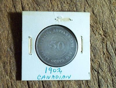 1902 Canada Straits Settlements 50 Cent Silver