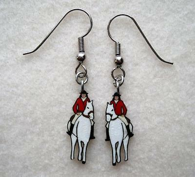 EQUESTRIAN EARRINGS ~ Rider on WHITE HORSE Hand-Painted Artisan Jewelry
