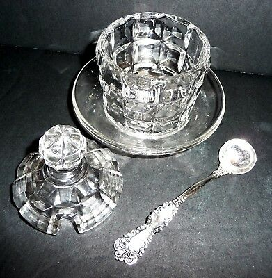 Vintage Crystal Mustard Jam Jelly Pot with Sterling Silver Ladle Spoon