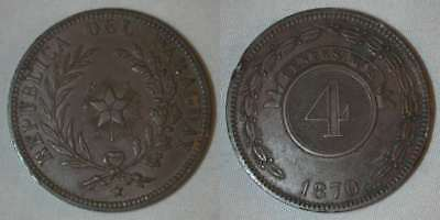 Beautiful 1870 Large Size Copper Coin Paraguay 4 Centesioms Good Extremely Fine