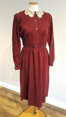 LAURA ASHLEY-Sz 8- VINTAGE Burgundy Cord Dress w/Lace Collar-Made in Ireland 70s
