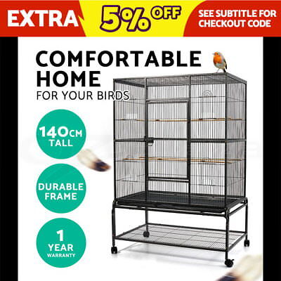 Bird Cage Parrot Aviary Pet Stand-alone Budgie Perch Castor Wheels Large 140cm