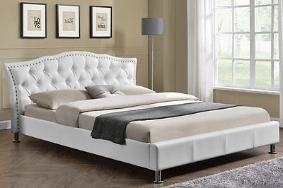 Modern Designer White Faux Leather Bed Frame Tufted Headboard Double King Size