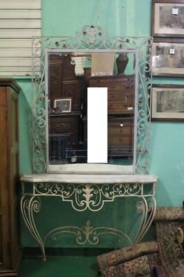 Console with Mirror, Wrought Iron, Paris 1930 about / Console Mirror
