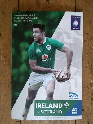 IRELAND v SCOTLAND, MARCH 2018, RUGBY PROGRAMME, EXCELLENT CONDITION.