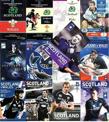 SCOTLAND v WALES RUGBY PROGRAMMES 1991-2015 GOOD + CONDITION FIVE & SIX NATIONS